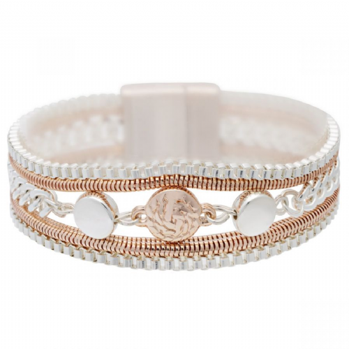 Bisoux Jewellery Magnetic Multi Strand Button Bracelet in Rose Gold